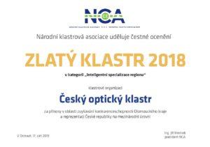 Zlatý klastr 2018 pro Český optický klastr